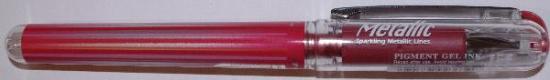 Picture of Pental Hybrid Metallic Pigment Ink Gel Pen Red 1.0mm