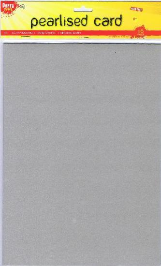 Picture of A4 Pearlised Cardstock Silver 6Pk