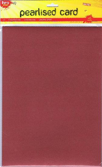Picture of A4 Pearlised Cardstock Red 6Pk