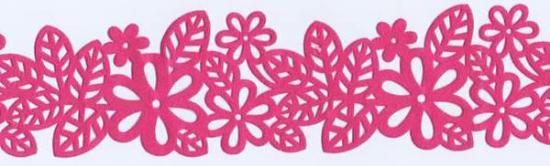 Picture of Flocked Border Flower Stickers Pink 4cm x 90cm