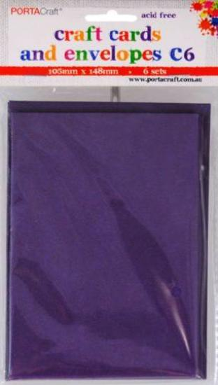 Picture of 6 Sets of C6 Cards & Envelopes Purple