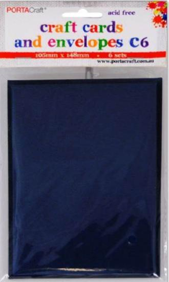 Picture of 6 Sets of C6 Cards & Envelopes Navy