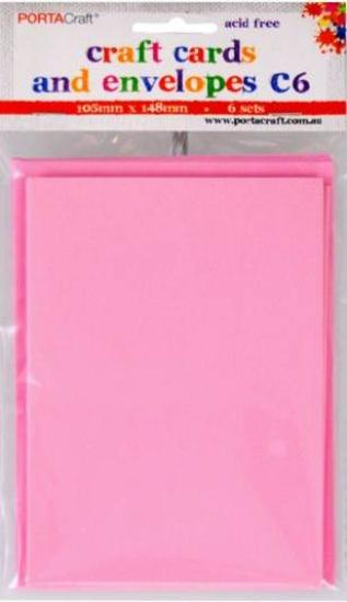 Picture of 6 Sets of C6 Cards & Envelopes Pink