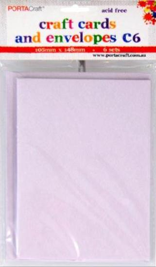 Picture of 6 Sets of C6 Cards & Envelopes Lavender