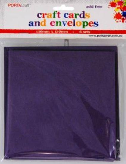 Picture of 6 Sets of Square Cards & Envelopes Purple