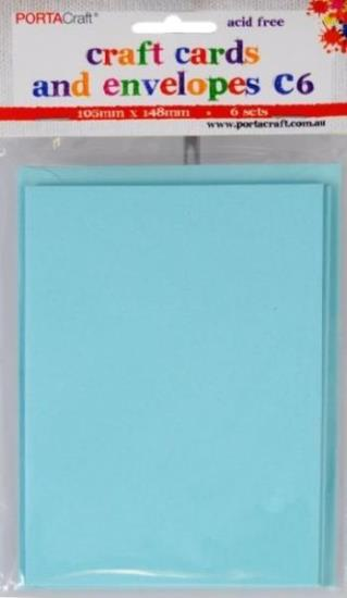 Picture of 6 Sets of C6 Cards & Envelopes Light Blue